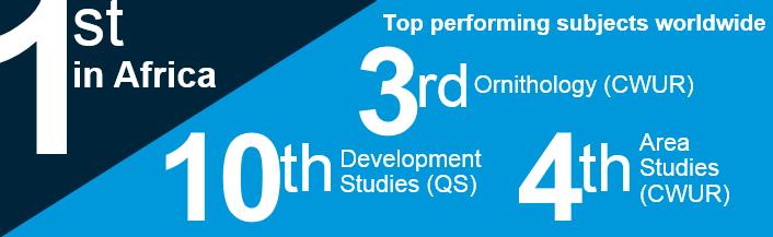1st in Africa. Top performing subjects wordwide: 3rd Ornithology (CWUR); 10th Development Studeis (QS); 4th Area Studies (CWUR).